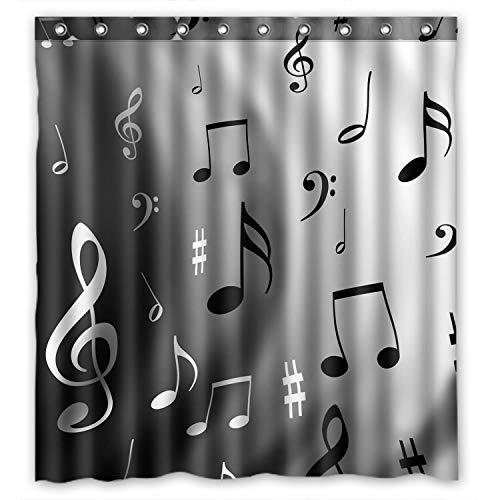 ZHANZZK Musical Notes Pattern Waterproof Bathroom Shower Curtain 60x72 Inches