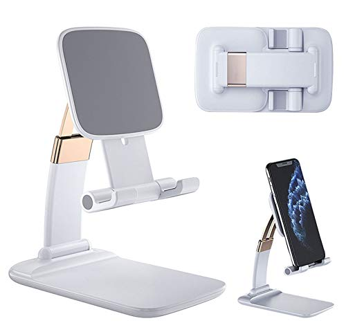 Upgraded Cell Phone Stand for Desk, Foldable Adjustable Desktop Phone Holder Cradle Dock for Home Office Travel Compatible with Smartphone Android, iPhone 11 Xs XR 8 7 Plus, Tablet iPad (White-A)