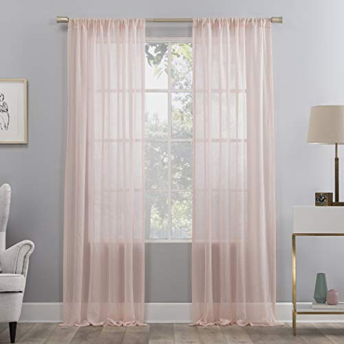 No. 918 Genevieve 2-Pack Linen Weave Semi-Sheer Rod Pocket Curtain Panel Pair, 50' x 84', Blush Pink