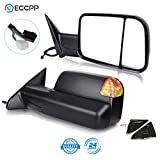 ECCPP Tow Mirrors Towing Mirrors fit for 2009-2010 for Dodge Ram 1500 2011-2015 Ram 1500 2500 3500 with Left Right Side Power Adjusted Heated Turn Signal Puddle Light with Black Housing