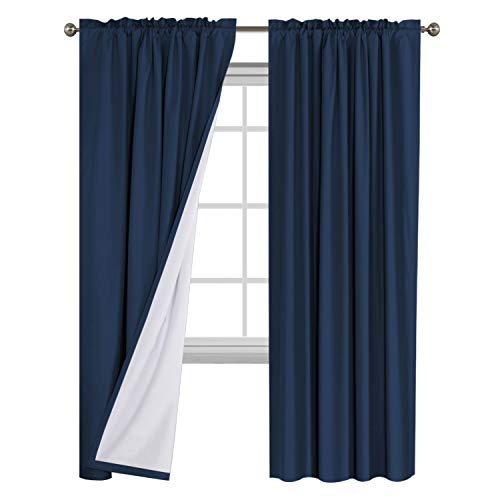 Flamingo P Window Treatment Rod Pocket 100% Blackout Curtains Waterproof Thermal Insulated Navy Curtains with White Backing (2 Panels Set), 52 by 84 Inch, 2 Bonus Tie-Backs