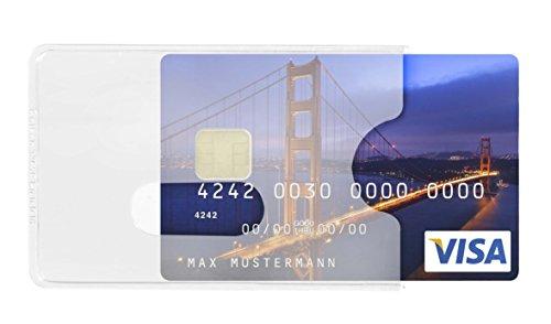 Karteo® Scheckkartenhülle Kreditkartenhülle Kartenschutzhülle Ausweishülle Ausweishüllen Kartenhülle Kartenhüllen (54 x 86 mm) Kartenhalter Halter aus Plastik Hartplastik transparent für 1 eine Karte mit Daumenausschub für Ausweise Kreditkarten Dienstausweise EC Karte Bankkarten Gesundheitskarten