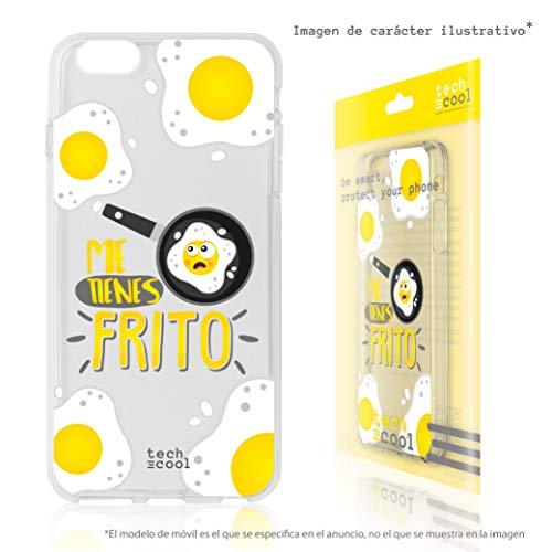 Funnytech® Funda Silicona para iPhone 8 Plus [Gel Silicona Flexible, Diseño Exclusivo] Frase Me Tienes Frito Transparente Vers.2