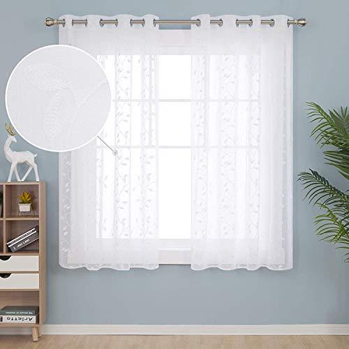 Deconovo Gardinen Schals Ösenvorhang Transparent Gardinen Wohnzimmer Vorhang Stickerei 138x140 cm Weiß Blatt 2er Set