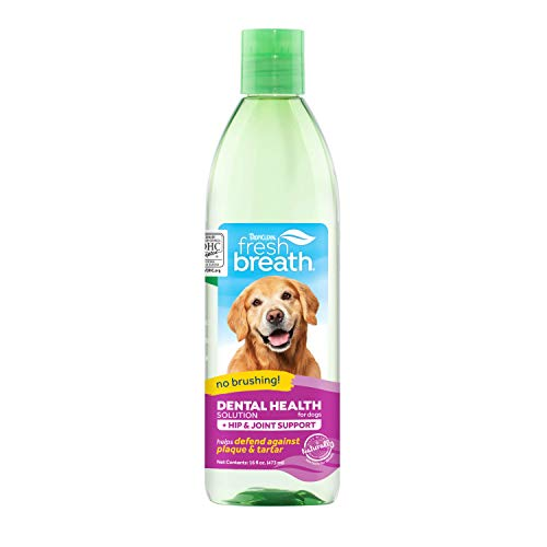 TropiClean Dog Breath Freshener - Oral Care Water Additive for Dogs, Pets, Cats I No Brushing I Fights Plaque & Tartar I With Glucosamine for Hip & Joint Support - 473 ml