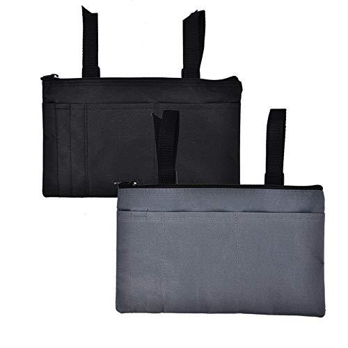 Bolsa de reposabrazos de 1 pieza, organizador de silla de ruedas de poliéster, bolsa lateral para silla de ruedas eléctrica, marco para caminar(Negro)