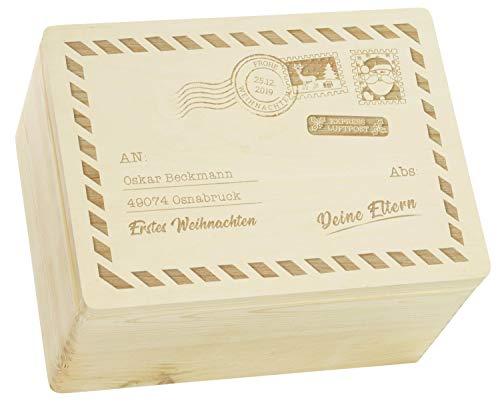 LAUBLUST Große Holzkiste Weihnachts-Post Motiv - Personalisiert mit Persönlicher Wunsch-Gravur - 40x30x24cm, Natur, FSC® | Geschenkkiste - Geschenk-Verpackung | Aufbewahrungskiste | Deko-Kasten