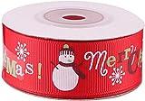 5M 25mm Green Red Christmas Tree Snow Santa Claus Printed Grosgrain Ribbons Letter Printed Ribbon Ruban