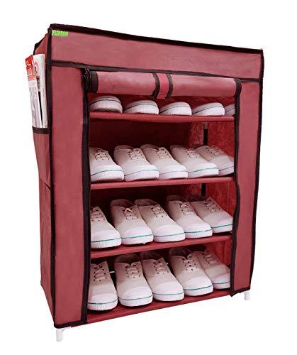 Flipzon Multi-Purpose Shoe Rack with 4 Fabric Shelves Organiser (Maroon)
