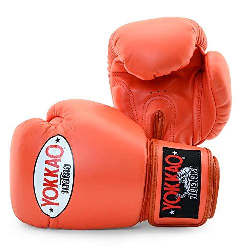 YOKKAO Boxhandschuhe aus Rindsleder für Muay Thai, Boxen, Kickboxen und Kampfsport (Kirsche/14 oz)