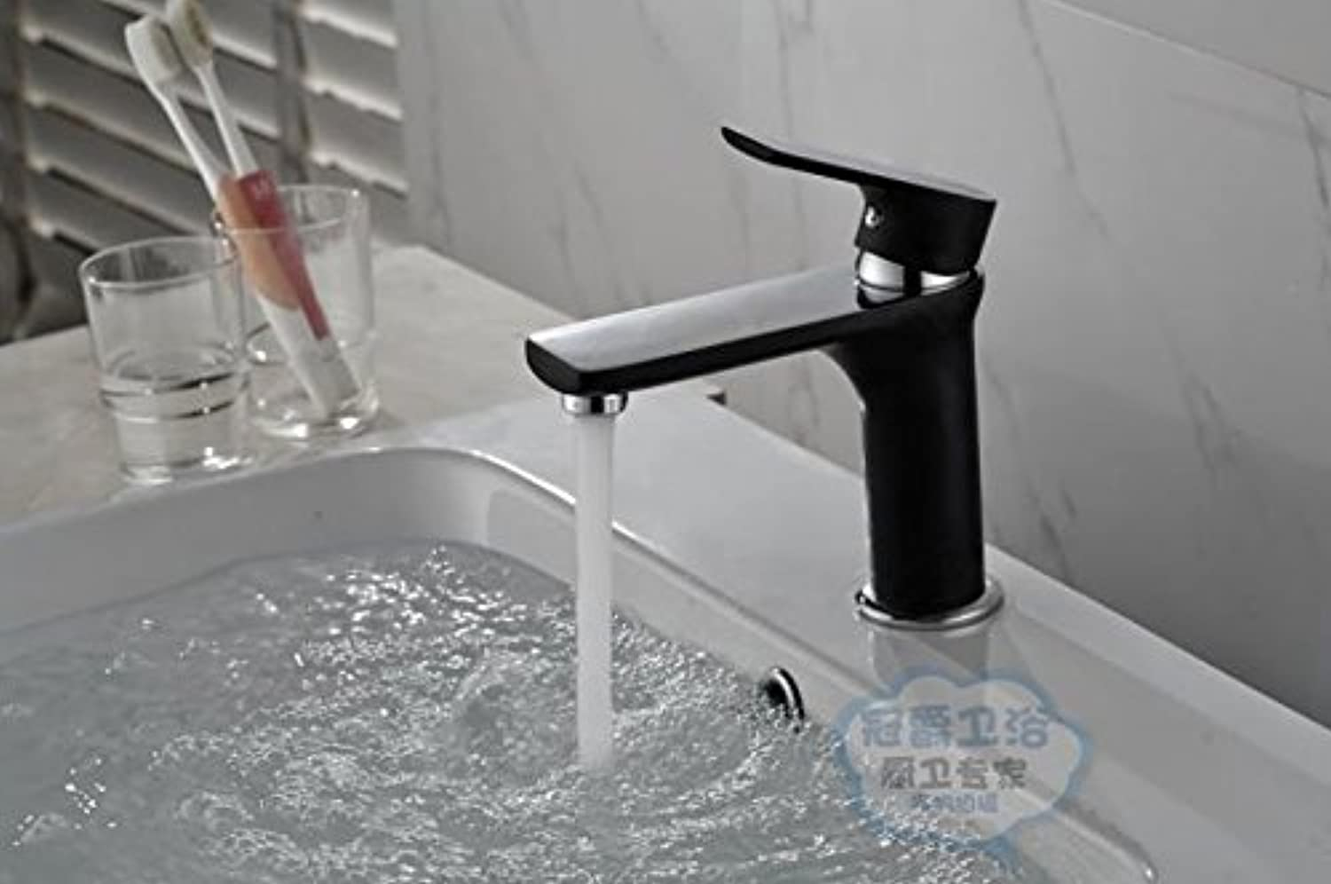 SADASD Contemporary Bathroom Full Copper Basin Faucet Half-Black Paint Bright Chrome color Basin Sink Mixer Tap Ceramic Valve Single Hole Single Handle Cold Water With G1 2 Hose