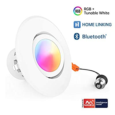 SAATLY Smart Recessed Lighting, 4 Inch 10W RGBWW LED Can Lights 16 Million Color Changing Ceiling Light, 2700K-5000K Dimmable Bluetooth Downlight, Slim Adjustable Angle 700LM(No Gateway Included)