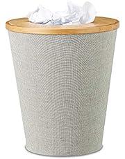 Relaxdays Papelera para Escritorio, Bambú, Gris, 30.5x30.5x35 cm