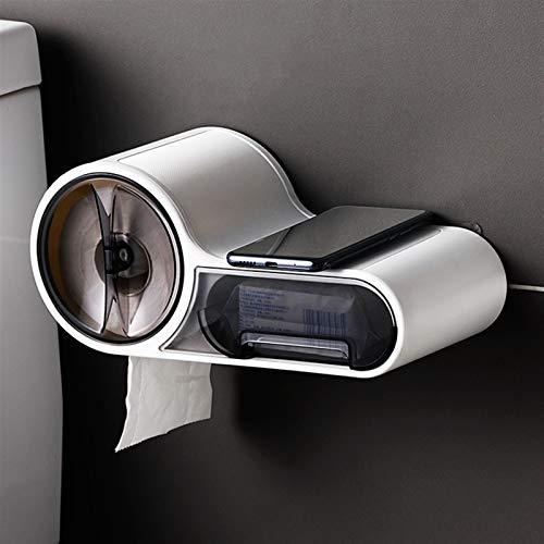 YAOLUU Portarollos Papel higienico Toporte de Papel higiénico Multifuncional Rack Montado en la Pared Caja de pañol Rollo de Papel Caja de Almacenamiento de Papel Accesorios de baño Portarrollos Baño