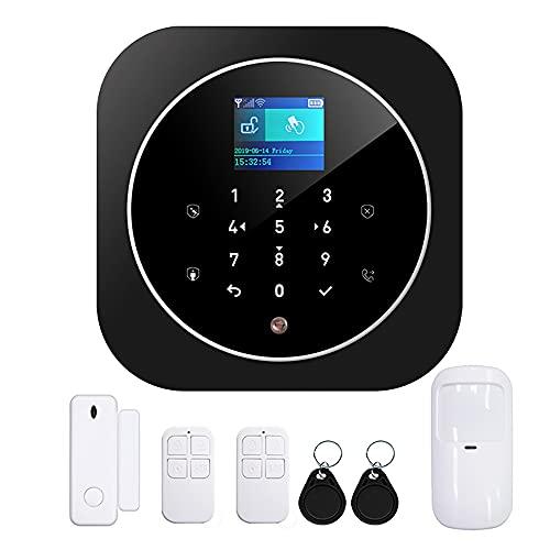 Sistema de Alarma para Casa, WiFi, GSM, Marcador Telefónico, 100 zonas, Pantalla a color de 1.8 pulgadas, kit Inalámbrico, Soporta 11 Idiomas, Control Remoto por la Aplicación Tuya