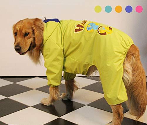 Chubasqueros Impermeables para Mascotas Perros con Capucha para Perro Mediano y Grande con Collar Agujero Tiras Reflectoras Transpirable Impermeable Chaqueta para Lluvia/Verde / 30