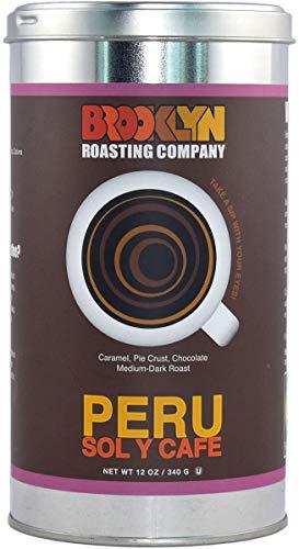 Brooklyn Roasting Company Fair Trade Certified Peru Coffee: 12oz Tin [WHOLE BEAN]
