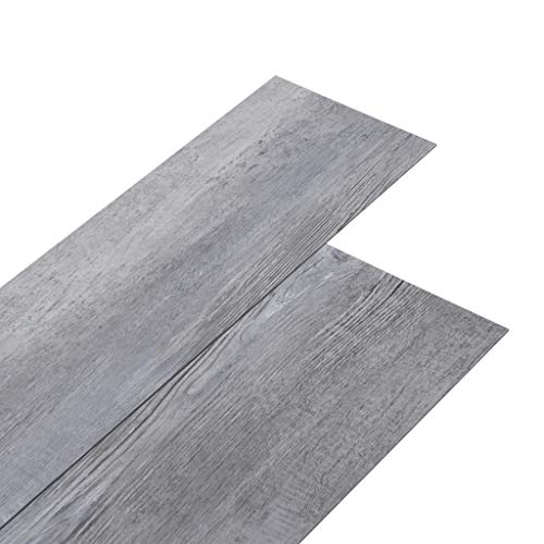 vidaXL PVC Laminat Dielen Vinylboden Vinyl Boden Planken Bodenbelag Fußboden Designboden Dielenboden 5,02m² 2mm Selbstklebend Mattgrau Holzoptik