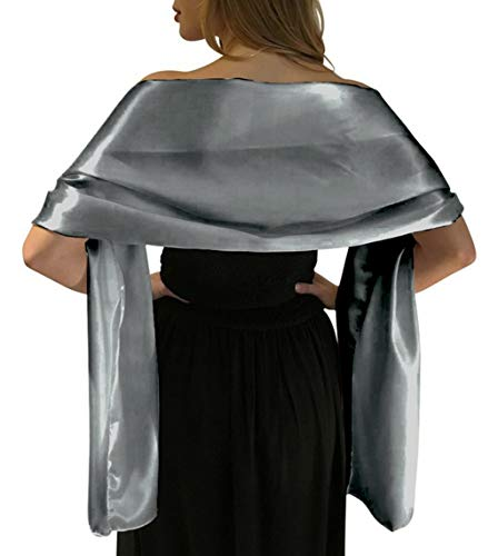 """Satin Shawls and Wraps for Evening Dresses Bridal Party Special Occasion by Lansitina, Silver, 95""""L 26""""W"""