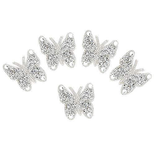 5 aplique de cristales brillantes perlado, tejido bordado autoadhesivo Hot Melt Pegamento aplique decorativo (plata)