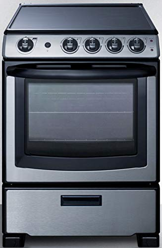 Summit Appliance REX2451SSRT 24' Wide Smooth-Top Slide-In Electric Range in Stainless Steel, with Lower Storage Drawer, Adjustable Racks, Backguard, Indicator Light and Oven Window