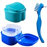Denture Bath Box Case, Hatisan False Teeth Storage Box with Hanging Net Container, Premium Mouth Guard Box with Cleaning Brush (2Pcs) …