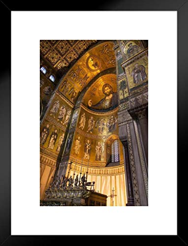 Monreale Cathedral Palermo Sicily Italy Ornate Gilded Ceiling Photo Matted Framed Wall Art Print 20x26 inch