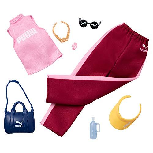 Barbie - Pack de Moda Puma Ropa Rosada deportiva con accesorios (Mattel GJG30) , color/modelo surtido