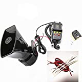AIHOME Car Horn Car Megaphone Alarm Horn with Mic PA System Emergency Sound Amplifier 130DB Loud Speaker Fire Alarm Ambulance Blaring Police Siren Electric Horn Sound for Any 12V Car Truck Boat ect