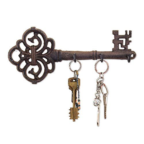Decorative Wall Mounted Cast Iron Key Holder - Vintage Key with 3 Hooks - Wall Mounted - Rustic Cast Iron Hanger- 10.8 x 4.7- with Screws and Anchors by Comfify