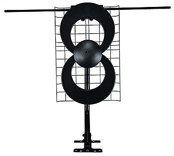Antennas Direct ClearStream 2V TV Antenna 60+ Mile Range UHF/VHF Multi-directional Indoor Attic Outdoor Mast w/Pivoting Base/Hardware/ Adjustable Clamp Sealing Pads 4K Ready Black – C2-V-CJM