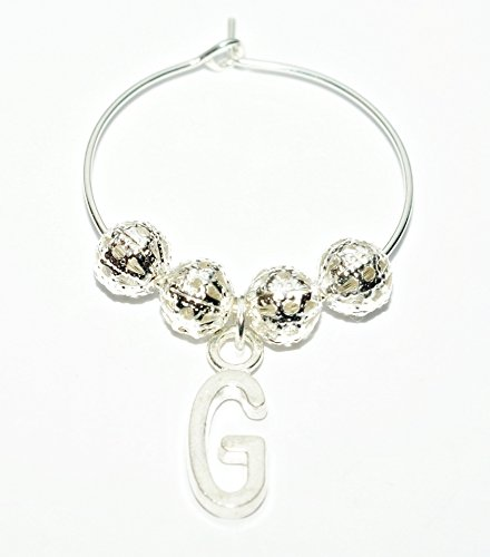 Personalised Silver Plated Wine Glass Charm ~ Letter G Initial Silver Charm ~ Plus Free Gift Card (Choice of Designs) ~ Weddings ~ Hen Party ~ Birthday Party ~ Table Decorations ~ from UK Seller