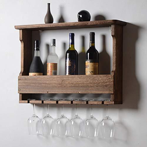 GR5AS Wand befestigtes Holz Weinregal Rustikales Weinregal, Weinflaschen oder Flüssig-Flaschen-Speicher-Halter |Stemware Racks Organizer, Halten 6 Weingläser, 24 × 5 × 17 Zoll (Color : #2)