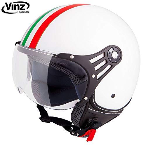 Vinz Rollerhelm Jethelm Fashionhelm | Roller Jet Helm mit Streifen | in Gr. XS-XL | Motorradhelm mit Visier | ECE zertifiziert (L, Weiß Italy)