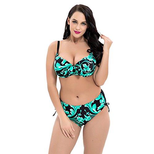 Baymate Damen Plus Größ Badeanzug Push Up Bandeau Strand Bademode Hohe Taille Blumendruck Bikini (Grün, Größe 50)