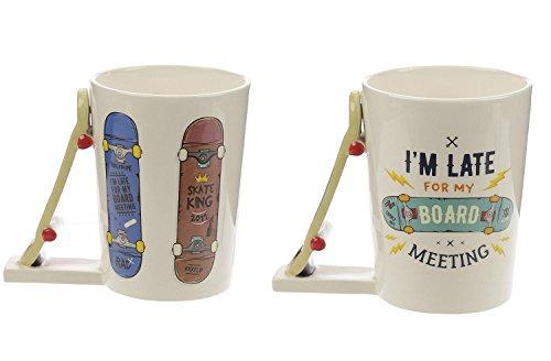 Close Up XL 3D Tasse2er Set Boardmeeting mit Skateboard-Henkel - außergewöhnlicher lustiger Kaffeebecher für Skater Boys & Girls