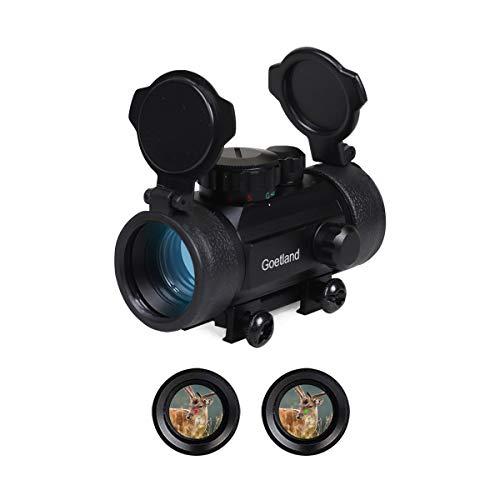 Goetland Lunette de Visée pour Fusil à Réflexes de 30 mm Viseur Point Rouge & Vert avec Couvercle d'objectif Rabattable et Montures