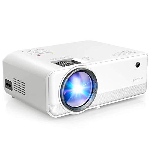APEMAN Proiettore Portatile Videoproiettore,Supporto 1080P,5000 Lumen LED Doppi Altoparlanti Incorporati 50000 Ore Cinema Domestico Compatibile HDMI/VGA/SD/AV/USB Supporto Laptop/TV Box/Telefono/PS4