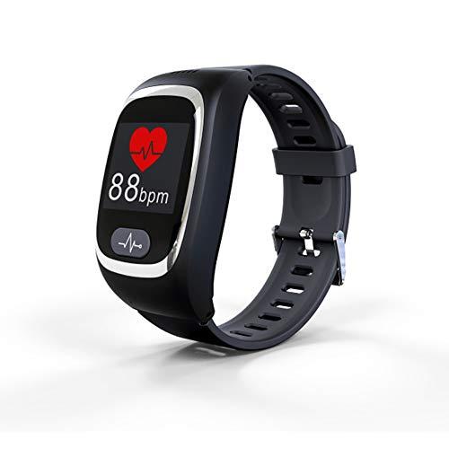 Posicionamiento GPS para Ancianos y niños Reloj SOS, monitorización de frecuencia cardíaca, IP67 Resistente al Agua, Llamada de Voz bidireccional, posicionamiento Beidou/Wi-Fi/G-Sensor
