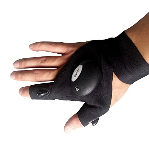 Eizur LED Angeln Handschuhe Angler Handschuh Anglerhandschuhe Taschenlampe Fingerlose Neoprenhandschuhe für Outdoor Sports Wandern Camping Notüberlebens Linke Hand/Rechte Hand Optional