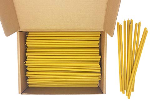 100 All Natural Décor 100% Pure Beeswax Taper Candles – Bulk, Tall (12 in), Unscented, Dripless, Smokeless, Slow Burning, Non Toxic, Honey Scent - for Home, Dinner, Cake, Church, Hanukkah, Christmas