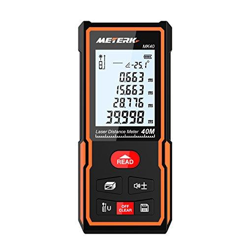 40m Handheld Medidor de distancia láser digital,Telémetro de alta precisión M/In/Ft Almacenamiento de datos Función,Pantalla LCD Retroiluminación Ángulo electrónico,Puede medir volumen,área,altura.