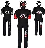 DEAGLE MMA Doctor Bane MMA Grappling Submission Dummy Wrestling BJJ Judo Karate Punching Bag - UNFILLED (Black/RED, 4FT)