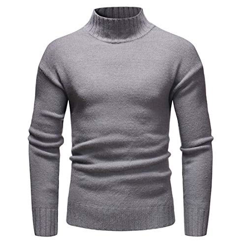 JinFZ Men Knitted Sweater Men Knitted Sweater Slim Fit High-Necked Long-Sleeved Spring and Autumn Fashion Casual Comfortable All-Match Men'S Pullovers C-Grey XL