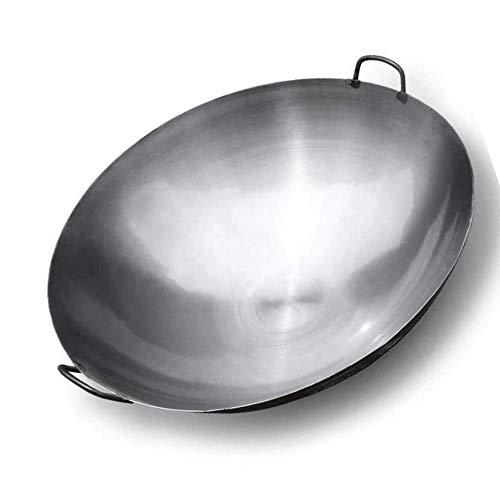 SHBV Wok in ghisa biauricolare Non Rivestito con Manici ad Anello Grande Padella in Ferro utilizzata per fornello a Gas Adatto per Cucina Domestica 42 cm