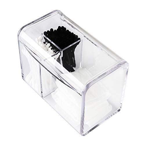 Moosy Life AZ35 Acrylic Bathroom Organizer, Cotton Ball Holder, Cotton Pad and Cotton Swab, 3 Partitions with Lid