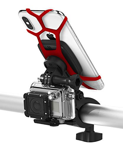 Fiets Telefoon Mount, Vena Universele 6Netic Magnetische Telefoon Houder met Secuirty riemen voor Fietsen, Motorfiets, Stuur 360° Rotatie, Met Koplamp/Actie Camera Mount