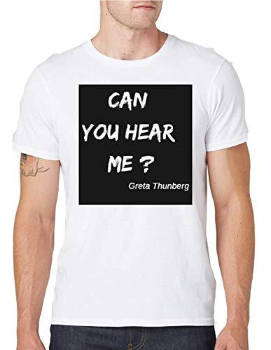 Can You Hear Me Greta Thunberg T-Shirt da Uomo Girocollo Large