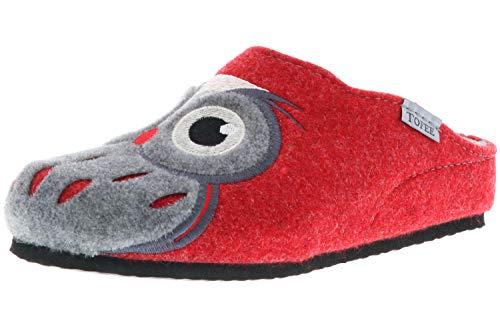 TOFEE Damen Hausschuhe Slipper Pantoffeln Pantoletten Naturwollfilz (Eule) rot, Größe:38, Farbe:Rot