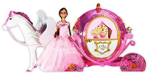 """Chezza! Princess Royal Carriage and Horse Toy Playset (Great for Barbie) - Includes 11"""" Princess Doll and Royal Horse - African American"""